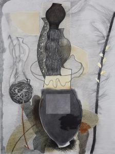 WERK 1230 | Jahr 2009 | Kohle, Bleistift, Pastell und Gold auf Papier.<br> Format: 150 x 112 cm